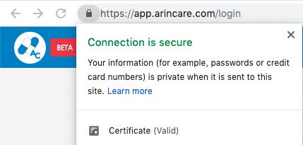 ระบบ Arincare ถูกป้องกันและเข้ารหัสด้วย SSL เพื่อความปลอดภัย
